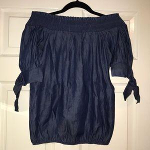 Tops - Blue Off-shoulder blouse